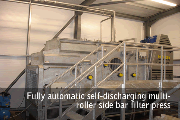 Fully automatic self-discharging multi-roller side bar filter press